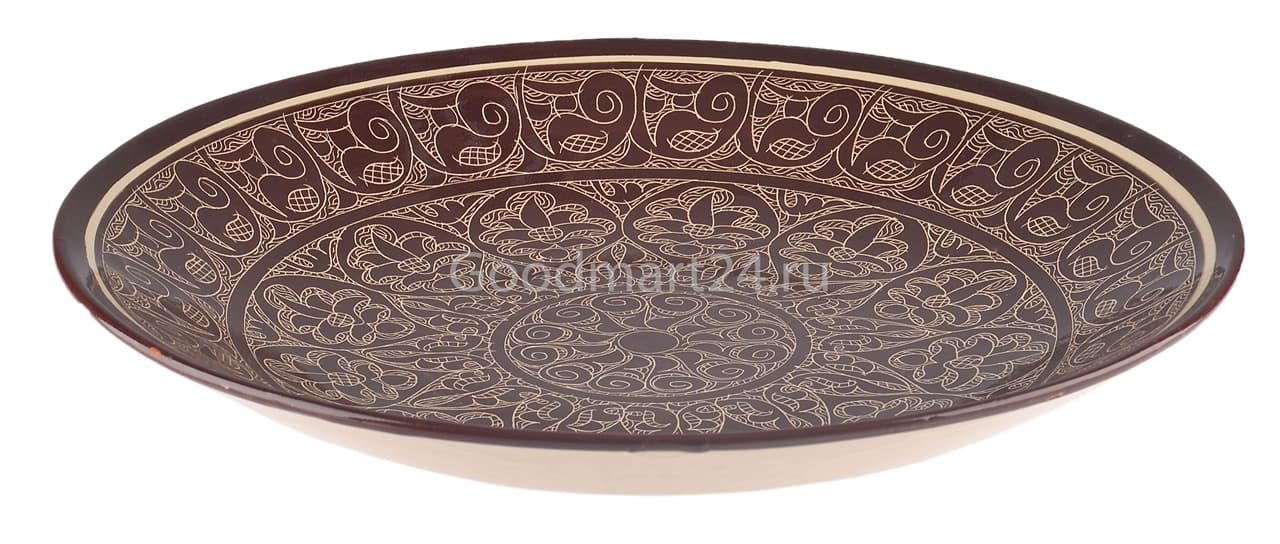 Ляган Риштанская Керамика 42 см. плоский, коричневый - фото 7361