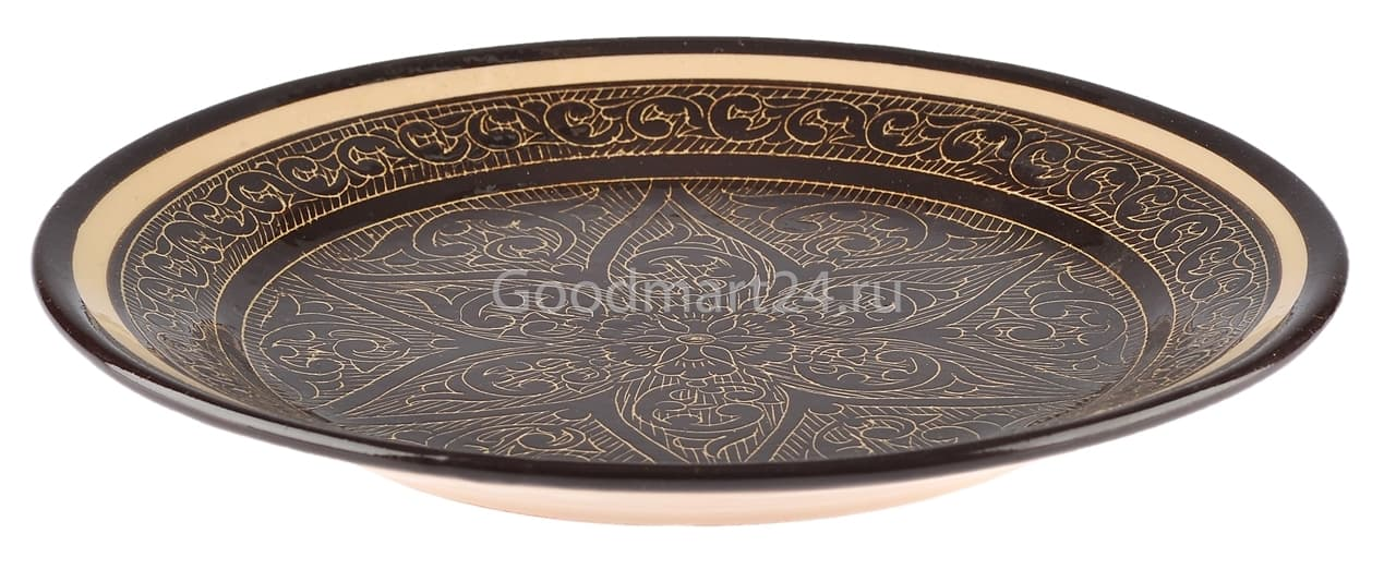 Ляган Риштанская Керамика 42 см. плоский, коричневый - фото 7362