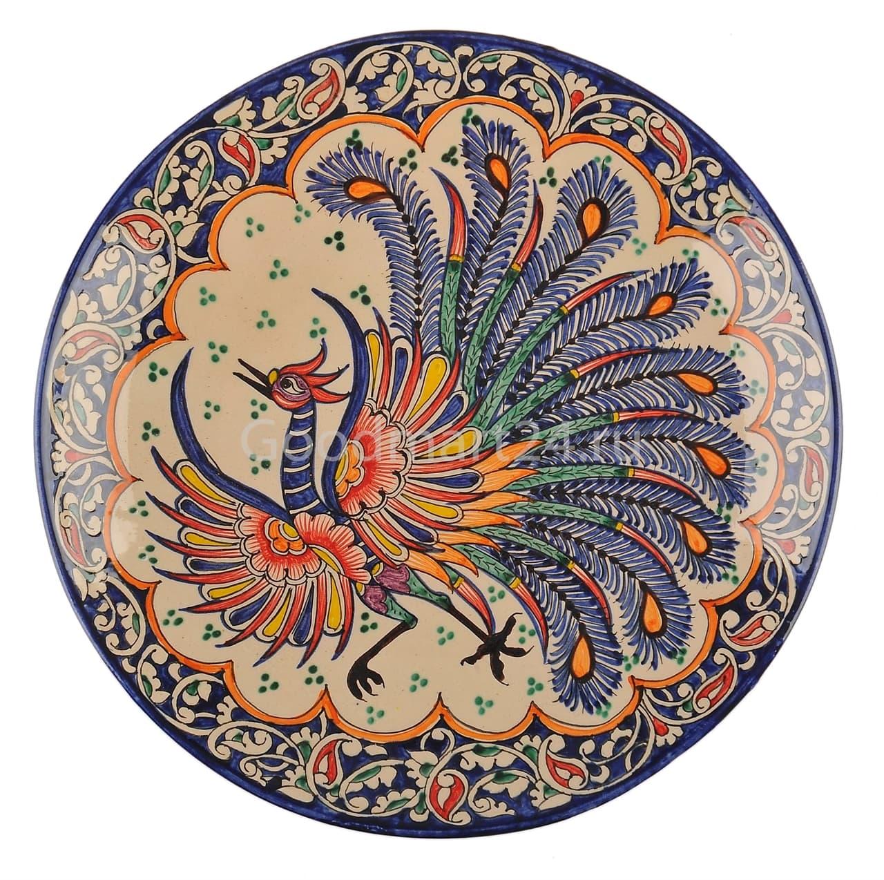 Ляган Риштанская Керамика 38 см. плоский, Жар-Птица - фото 7396