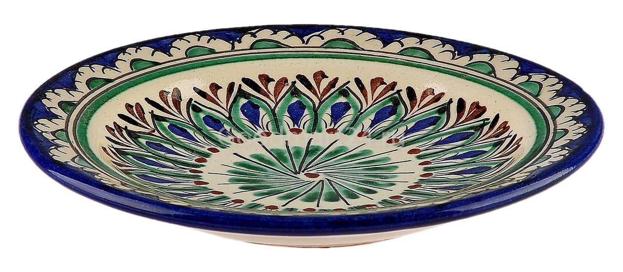 Тарелка плоская Риштанская Керамика 19 см. синяя - фото 7489