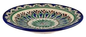 Тарелка плоская Риштанская Керамика 19 см. синяя