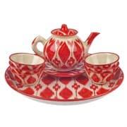 Набор чайный Риштанская Керамика, 9 предметов, Красный Атлас